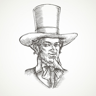 紳士の肖像画。ビンテージ