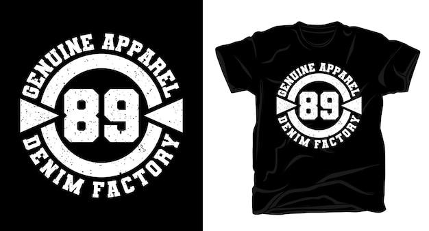 本物のアパレル89タイポグラフィtシャツのデザイン