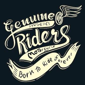 Genuine riders typographic for t-shirt