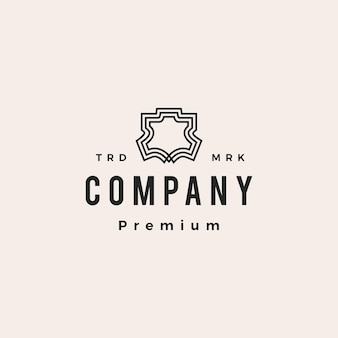 Genuine or synthetic leather hipster vintage logo vector icon illustration