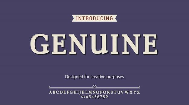 Genuine typeface. for creative purposes