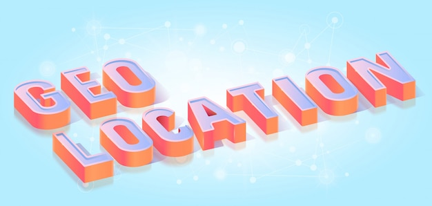 Geo location text title isometric