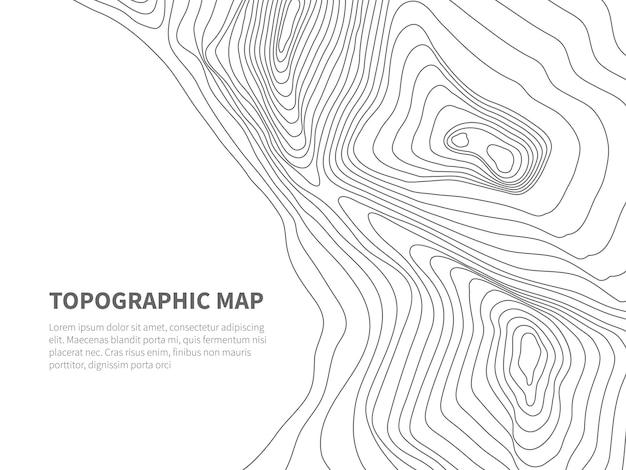 測地線の輪郭を描く土地。地形線図。地理的な山の輪郭、テキストテンプレート