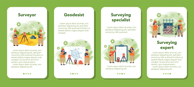 Geodesy science mobile application banner set. land surveying technology. engineering and topography equipment. people with compass andmap.