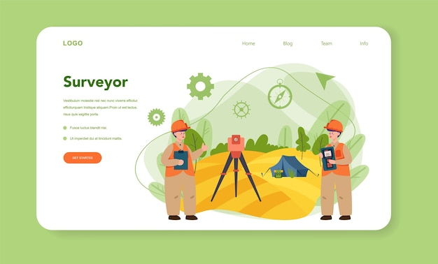 Geodesy science web banner or landing page. land surveying technology. engineering and topography equipment. people with compass andmap. vector illustration in cartoon style