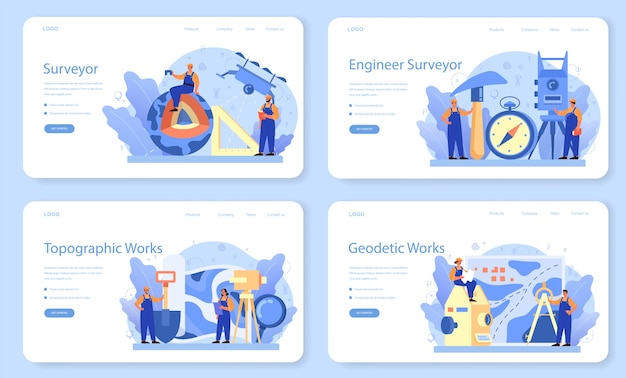 Geodesy science web banner or landing page set