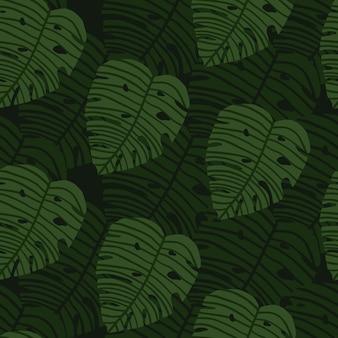 Geoetric green monstera leaves wallpaper. botanic seamless pattern.