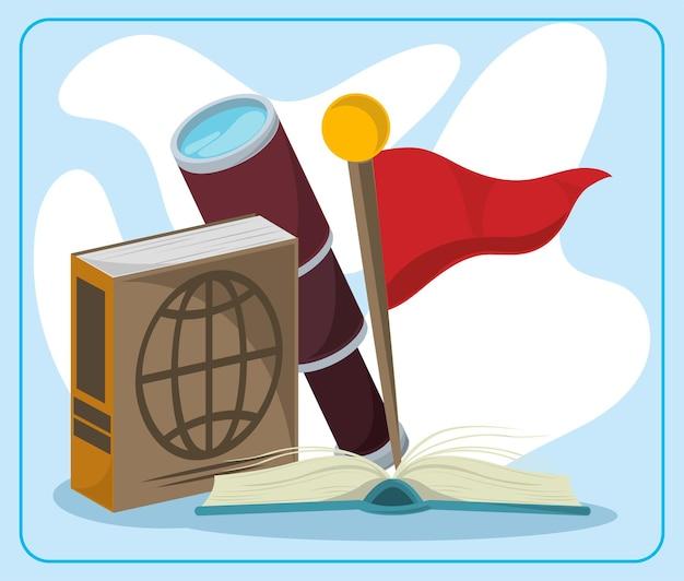 地理の本とマーカー