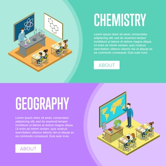 Geography and chemistry lessons at school banner template