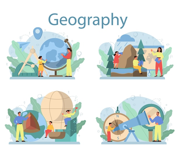 Geography class concept set. studying the lands, features, inhabitants of the earth. mapping and environment research.