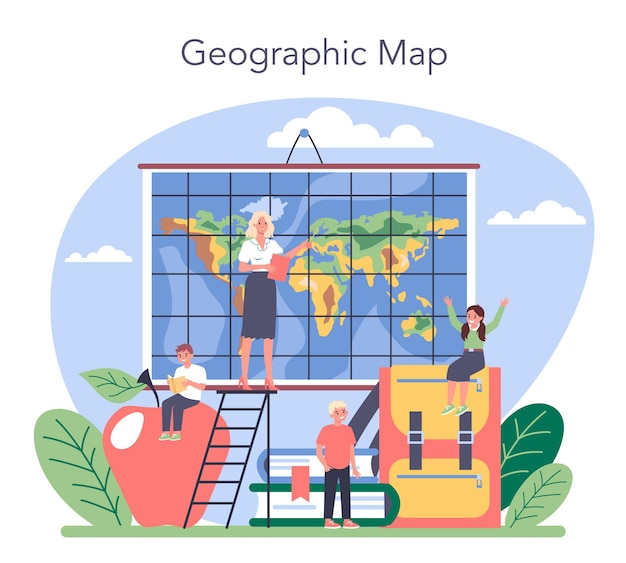 지리 수업 개념. 지구의 땅, 특징, 주민을 연구합니다. 지도 제작, 지질학 및 환경 연구. 격리 된 벡터 일러스트 레이 션