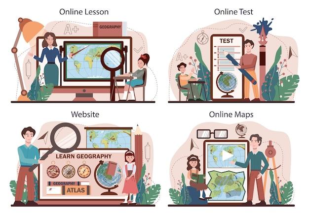 地理クラスのオンラインサービスまたはプラットフォームセット。土地を学ぶ学生