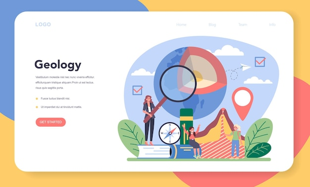 Geography class web banner or landing page