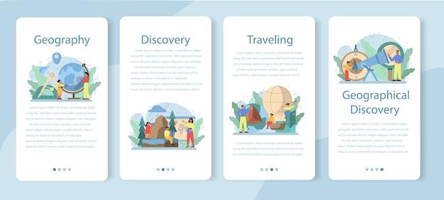 地理クラスモバイルアプリケーションバナーセット。地球の土地、特徴、住民を研究するグローバルサイエンス。マッピングと環境調査。