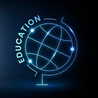Geography education logo template vector with globe science graphic