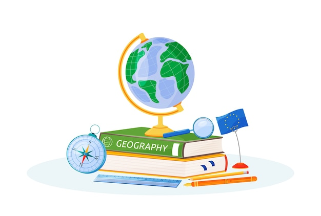 Иллюстрация плоской концепции географии. школьный предмет. метафора изучения естествознания. изучение земли. учебник для учащихся, глобус и компас 2d-мультяшные объекты
