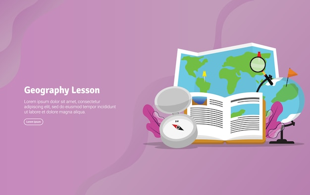 Geography lesson concept educational illustration banner