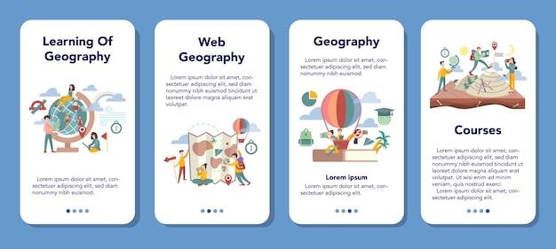 地理モバイルアプリケーションバナーセット。地球の土地、特徴、住民を研究するグローバルサイエンス。地理学習の要約。マッピングと環境調査。