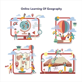 Geography online education sevice set. global science studying the lands, features, inhabitants of the earth. abstract   of geography online learning.