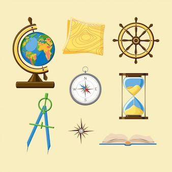 Geography set with globe, topography map, ship wheel, compass, hourglass, windrose and boo
