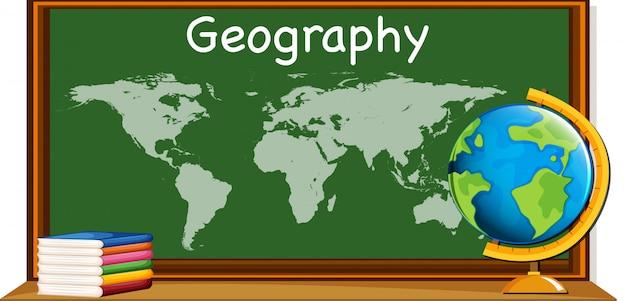 Предмет географии с картой мира и книгами