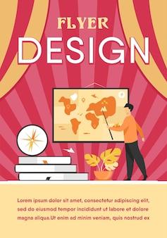 수업 시간에 지리 교사. 책과 나침반의 스택 근처에 포인터를 사용하여 세계지도를 제시하는 스피커. 플라이어 템플릿