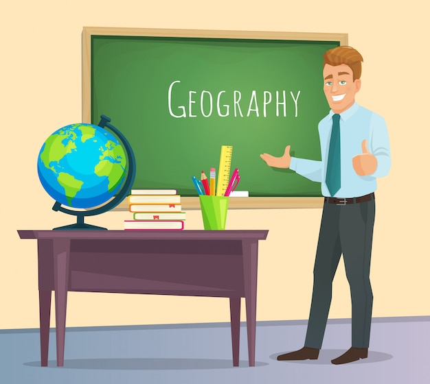 Geography teacher stands at the blackboard