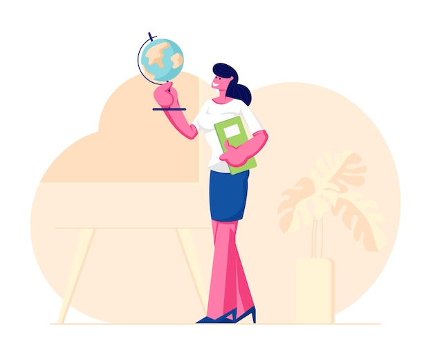 Geography teacher woman character holding globe and class journal stand on classroom