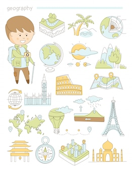 Geography and travel, teacher geographer doodle style big set