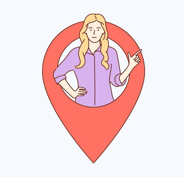 ジオロケーション、gpsナビゲーション、オンラインマップ、gpsピン、正しい道の場所の住所。地図上の現在の瞬間の人々の場所を示す女性の女の子。