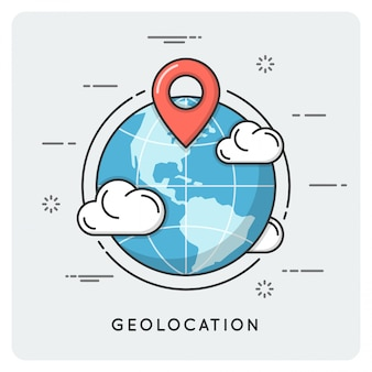Geolocation and navigation. thin line .