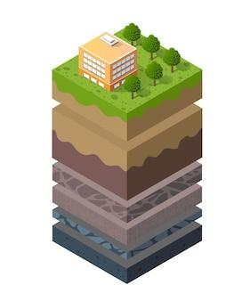 Геологические и подземные слои почвы под изометрическим срезом природного ландшафта