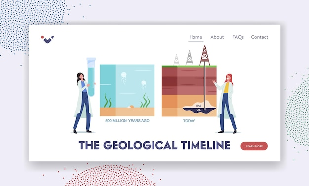 Geological timeline landing page template. scientist female characters presenting oil or gas natural formation infographic from million years ago to today time line. cartoon people vector illustration