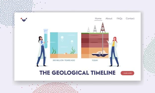 地質タイムラインランディングページテンプレート。数百万年前から今日のタイムラインまでの石油またはガスの天然ガス形成インフォグラフィックを提示する科学者の女性キャラクター。漫画の人々のベクトル図
