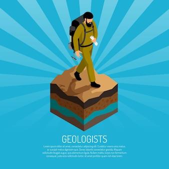 土にバックパックとキャンバスの制服を着た男と地質学者のフィールドワーク等角図