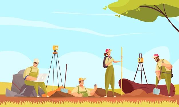 야생 야외 풍경 그림에서 땅을 파고 측정 평면 낙서 문자 그룹과 지질학 토양 조성