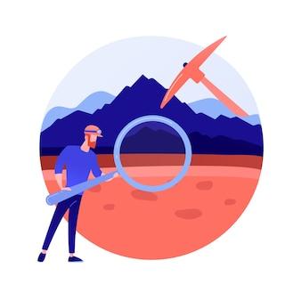 Геология абстрактное понятие векторные иллюстрации. прикладная наука о земле, изучение физических горных пород, геология для детей, исследование полезных ископаемых, формирование ландшафта, абстрактная метафора исследования почвы.