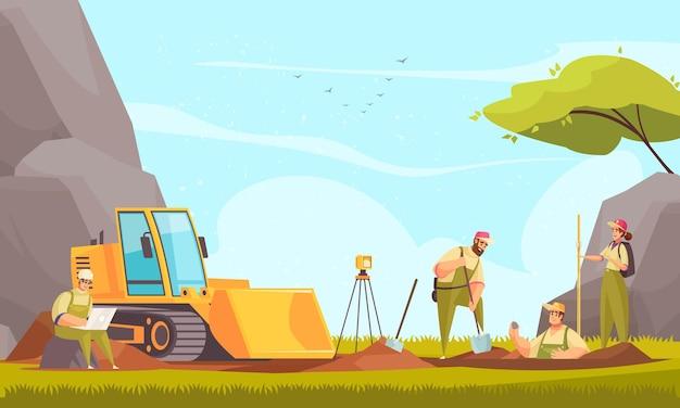 平らな野生の風景と機器を使用した検査手順中の地質学者のグループによる地質学の屋外構成