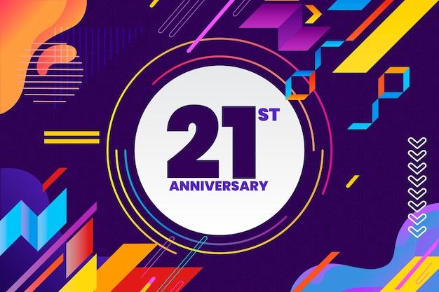 Geometric 21 anniversary background Free Vector