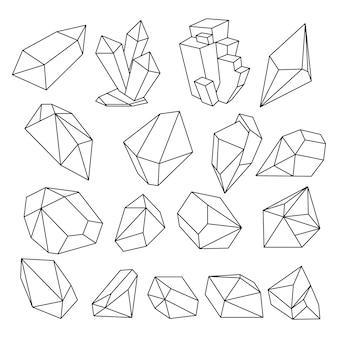 Geometric 3d crystal line shapes  set