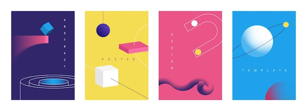 Geometric 3d posters. abstract retro futuristic banners with bright geometry art objects, brochure collections with technology shapes. vector set geometrical illustration backgrounds