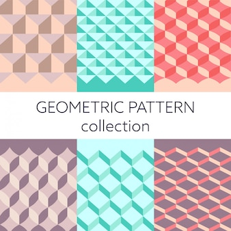 Geometric 3d seamless pattern collection vector