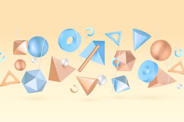 Geometric 3d shapes floating background