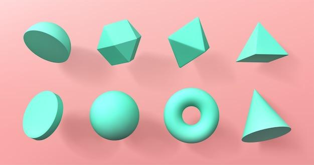 幾何学的な3d形状の半球、八面体、球とトーラス、円錐、円柱、ピラミッド