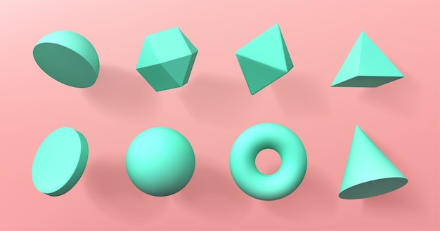 Geometric 3d shapes hemisphere, octahedron, sphere and torus, cone, cylinder and pyramid