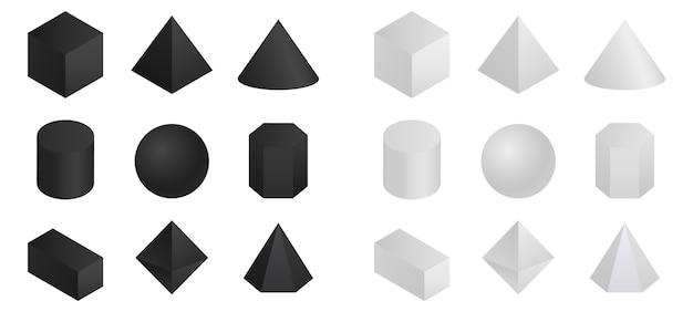 기하학적 3d 도형 아이소 메트릭.