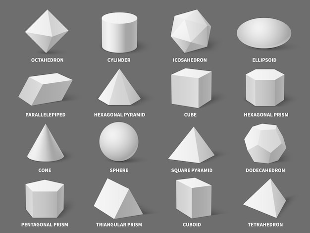 Geometric 3d shapes. realistic white basic geometry form sphere and pyramid, hexagonal and prism, tetrahedron and cone, isolated isometric objects set