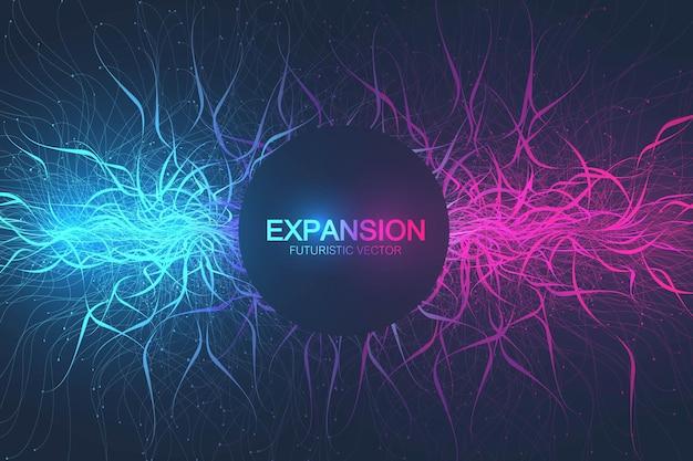 人生の幾何学的な抽象的な背景の拡大。接続された線と点、波の流れとカラフルな爆発の背景。グラフィックの背景の爆発、モーションバースト。科学的なベクトルイラスト。