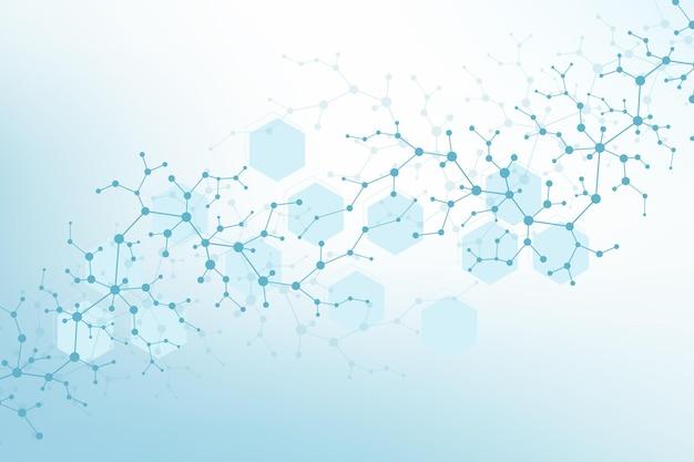육각형으로 기하학적 추상 배경 분자입니다. 선, 점, 육각형이 있는 기술 패턴입니다. 미래의 분자는 의료, 기술, 화학, 과학에 대한 개념을 형성합니다. 벡터 배너입니다.