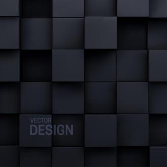 Геометрический абстрактный фон из черных случайных кубических форм